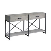 Iron Junction 2 Drawer Metal and Wood Rustic Console