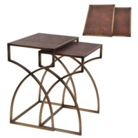 Winston Antique Gold and Faux Leather Nested Tables