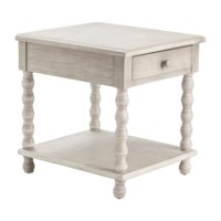 Pembroke Turned Leg Chalk Grey 1 Drawer End Table