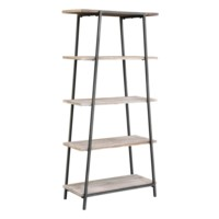 Grant Rustic Metal and Wood Angled Etagere