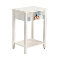 South Shore Multi Color Nautical Patchwork 1 Drawer Accent Table