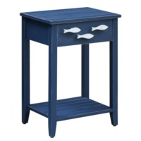 Nautical Navy 1 Drawer Accent Table w/ Fish Hardware