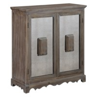 Browning Rustic Wood and Antique Mirror 2 Door Cabinet