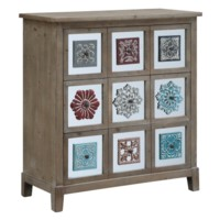Abby Rustic Wood 3 Drawer Mirror and Patchwork Metal Chest