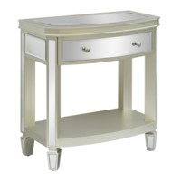 Wilshire Bent Mirror 1 Drawer Champagne Side Table