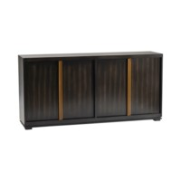 Empire 4 Door Sideboard with Burnished Brass Hardware in Rich Jacobean Finish