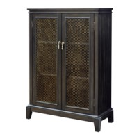 Empire 2 Door Tall Cabinet with Burnished Brass Metal Panel in Rich Jacobean Finish
