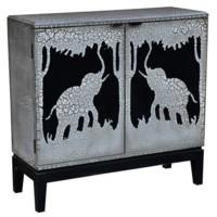 Serengetti 2 Door Antique Crackled Safari Scene Cabinet