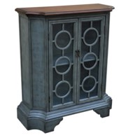 Ashton Shaped 2 Circle Glass Door Cabinet w/ Wood Top