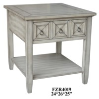 Bledsoe 1 Drawer White Ash Rectangle End Table
