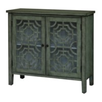 Brushed Light Green 2 Door Pattern Cabinet