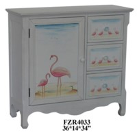 Pink Flamingo 3 Drawer 1 Door Cabinet