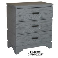 Silver Groove 3 Drawer Accent Chest
