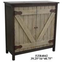Farmers Branch Rustic Two-Tone Grey 2 Barn Door Cabinet