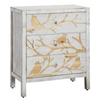 Morning Dove 3 Drawer Washed White and Routed Out Bird Design Chest