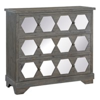 Collins 3 Drawer Rustic Wood and Hexagon Mirror 3 Drawer Chest