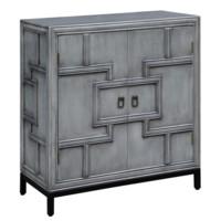 Hudson 2 Door Geometric Design Grey Cabinet with Metal Base