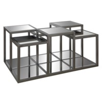 Park Avenue Multi-Level Metal and Mirror Cocktail Table