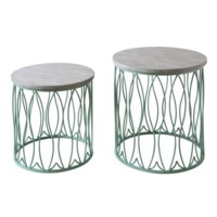 Seafom Green Metal Fish Accent Tables w/ White Wood Top