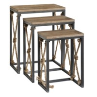 Bar Harbor Rustic Wood and Metal Rope Nested Tables
