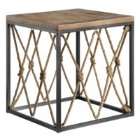 Bar Harbor Rustic Wood and Metal Rope End Table