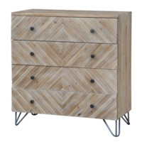La Salle 3 Drawer Raised Pattern Natural Wood Chest