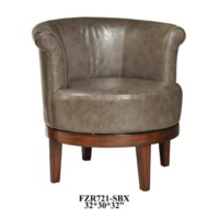 Camden Grey Leather Swivel Chair