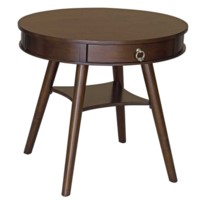 Basil Round Side Table with One Drawer