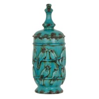 Large Perched Bird Lidded Urn