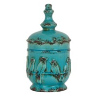 Medium Perched Bird Lidded Urn