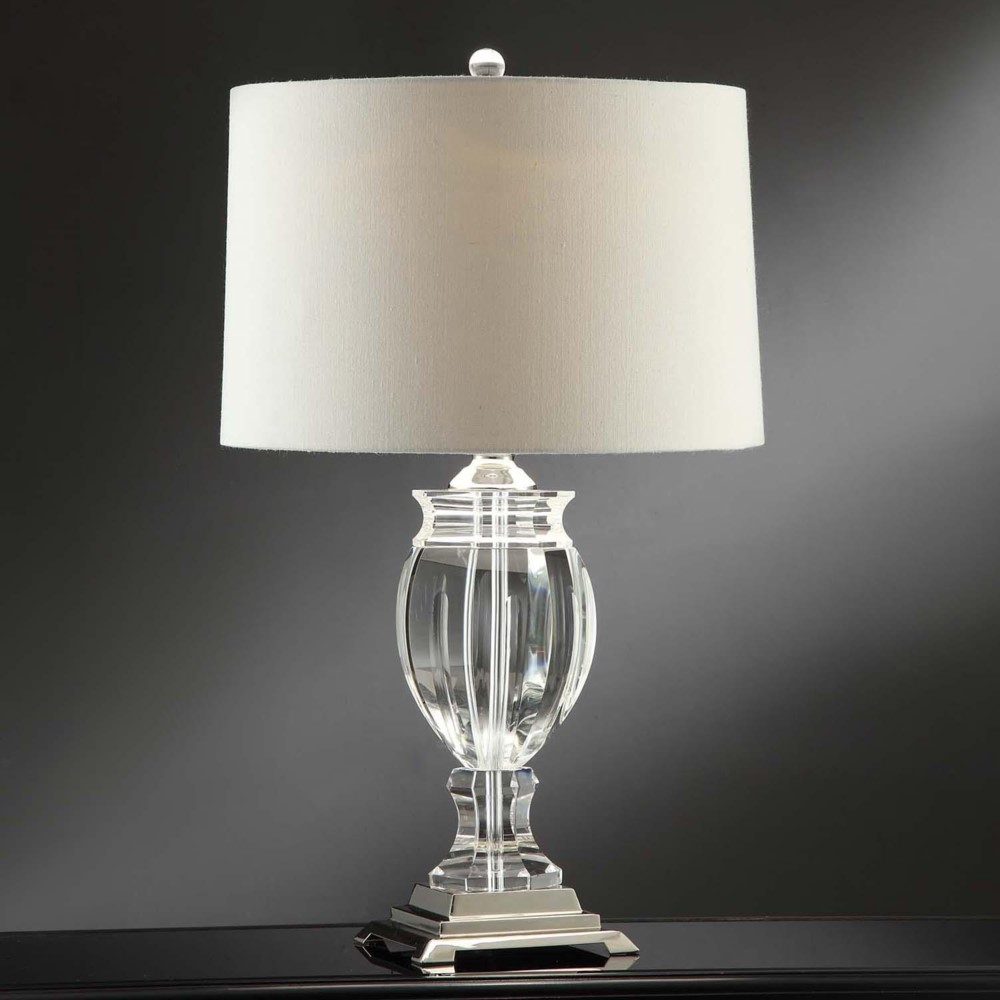 two large 27 modern clear crystal table lamp cream shade. Black Bedroom Furniture Sets. Home Design Ideas