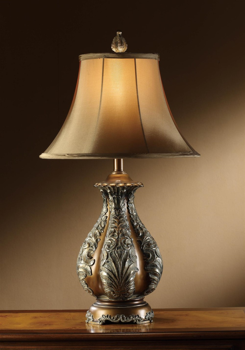 bronze with gold accents table lamp large silk shade light ebay. Black Bedroom Furniture Sets. Home Design Ideas
