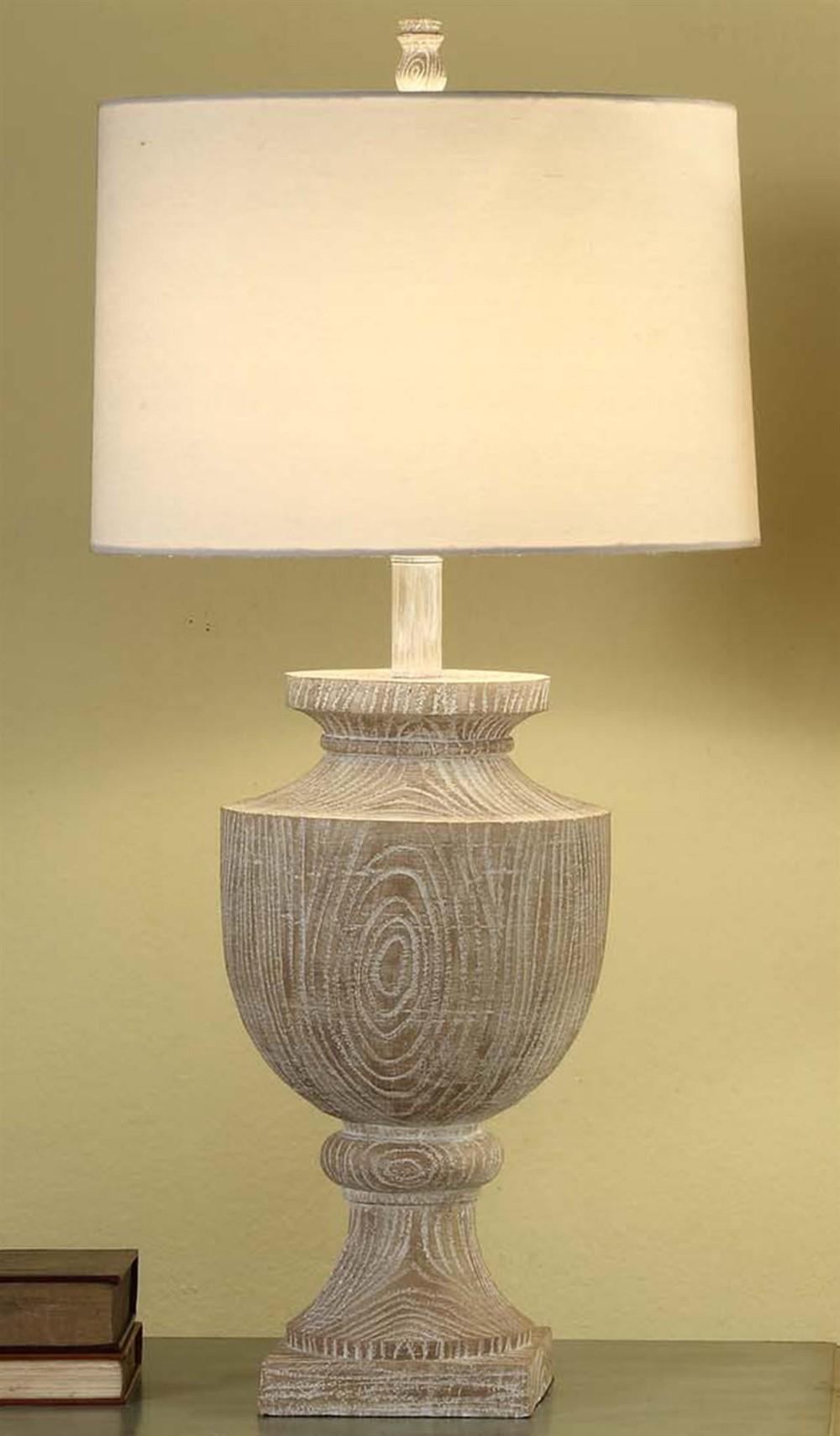 two bleached wood finished resin table lamps off white linen shade desk lights ebay. Black Bedroom Furniture Sets. Home Design Ideas