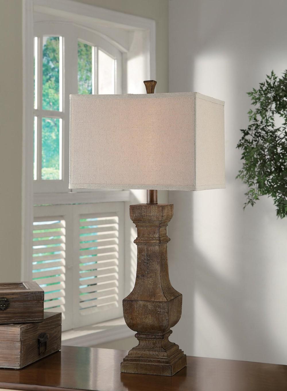 large 33 aged wood resin finish table lamp linen shade reading desk light ebay. Black Bedroom Furniture Sets. Home Design Ideas