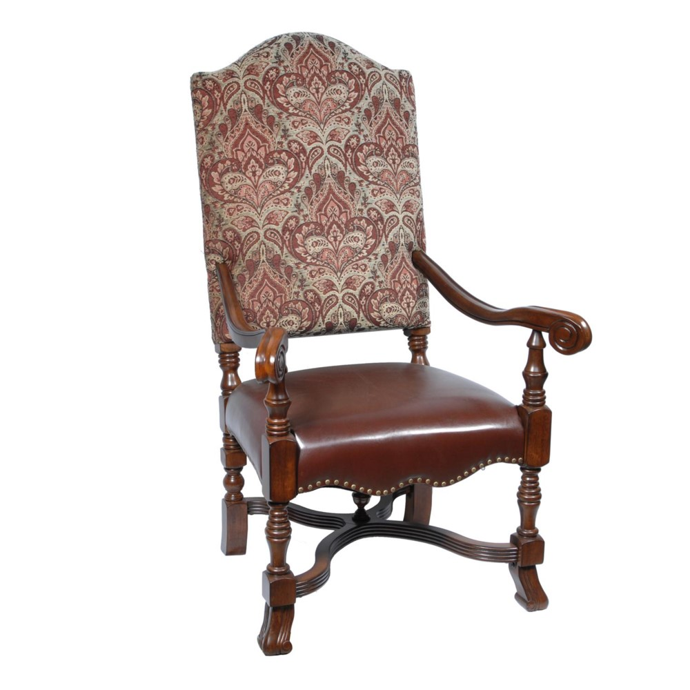 Stately Fabric Amp Leather High Back Accent Lounge Arm Chair