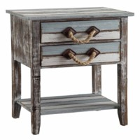 Nantucket 2 Drawer Weathered Wood Accent Table