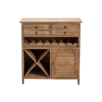 Jackson 2 Drawer Weathered Oak Wine Cabinet