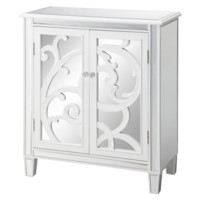 La Salle White Scroll and Mirror 2 Door Cabinet