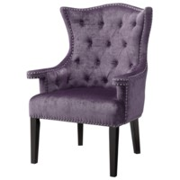 Fifth Avenue Upholstered Eggplant Velvet Chair w/ Nailhead Trim