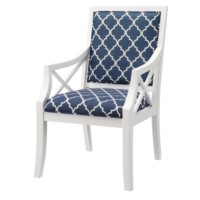 Atlantic Blue and White Accent Chair
