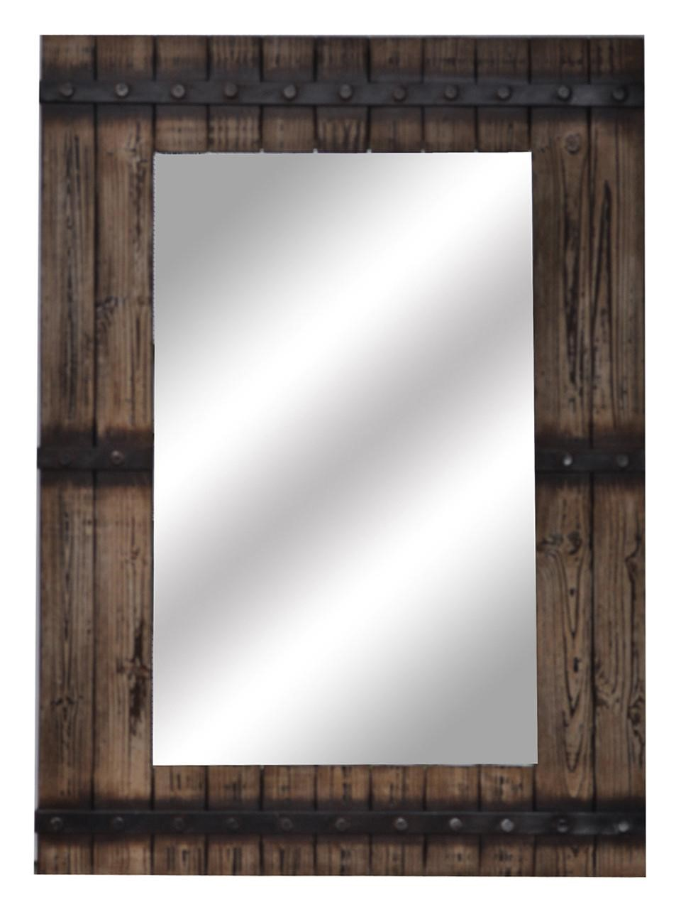 new large 43 rich aged wood finished wall mirror rustic