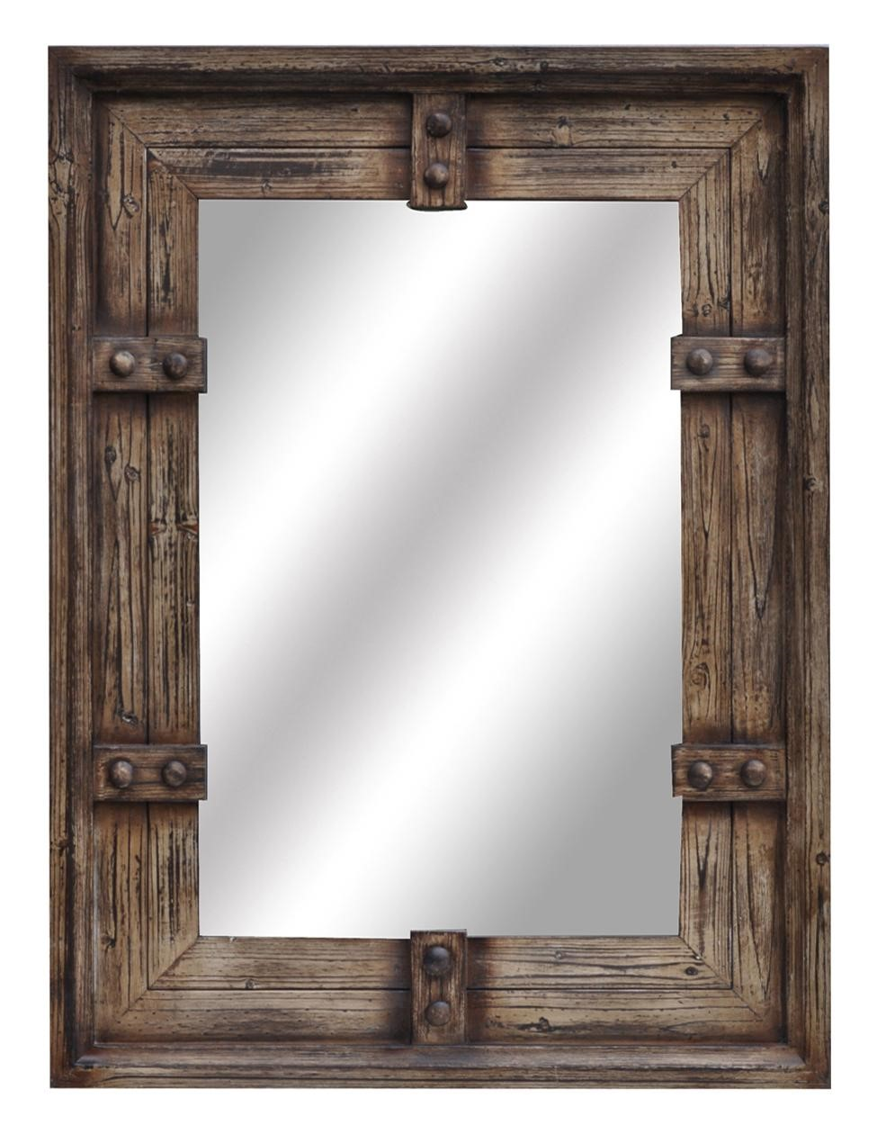 new large 44 aged wood style wall mirror rustic western