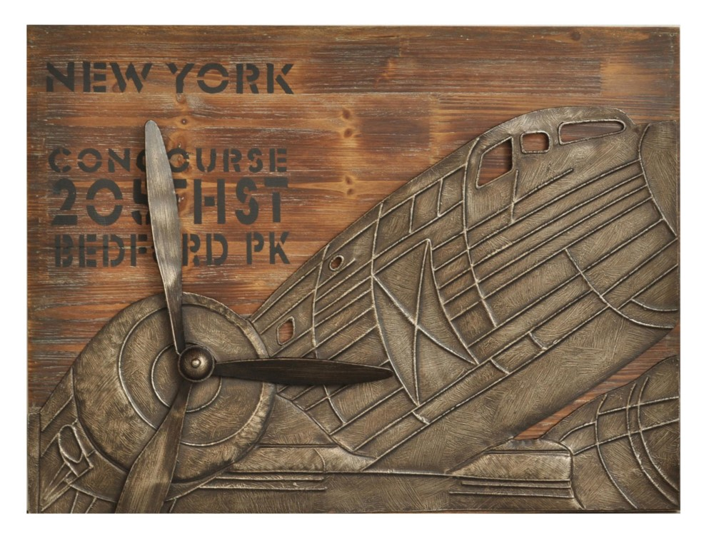 Large 31 Quot New York Concourse Plaque Airplane Wood Amp Metal