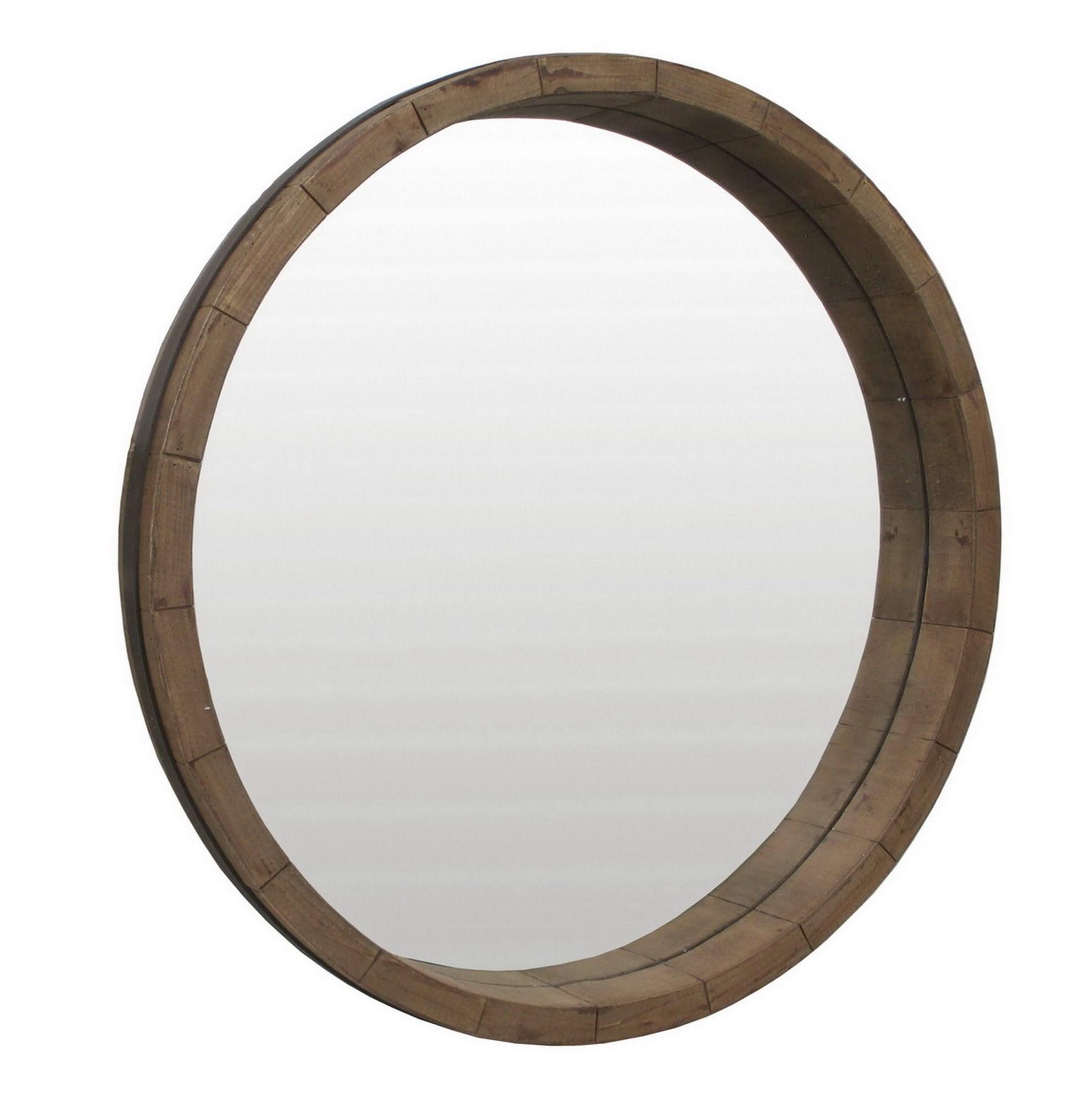 Round Wood Framed Mirror Bassman Blaine La Mart