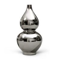 Mina Double Gourd Metallic Vase (Pair), Silver