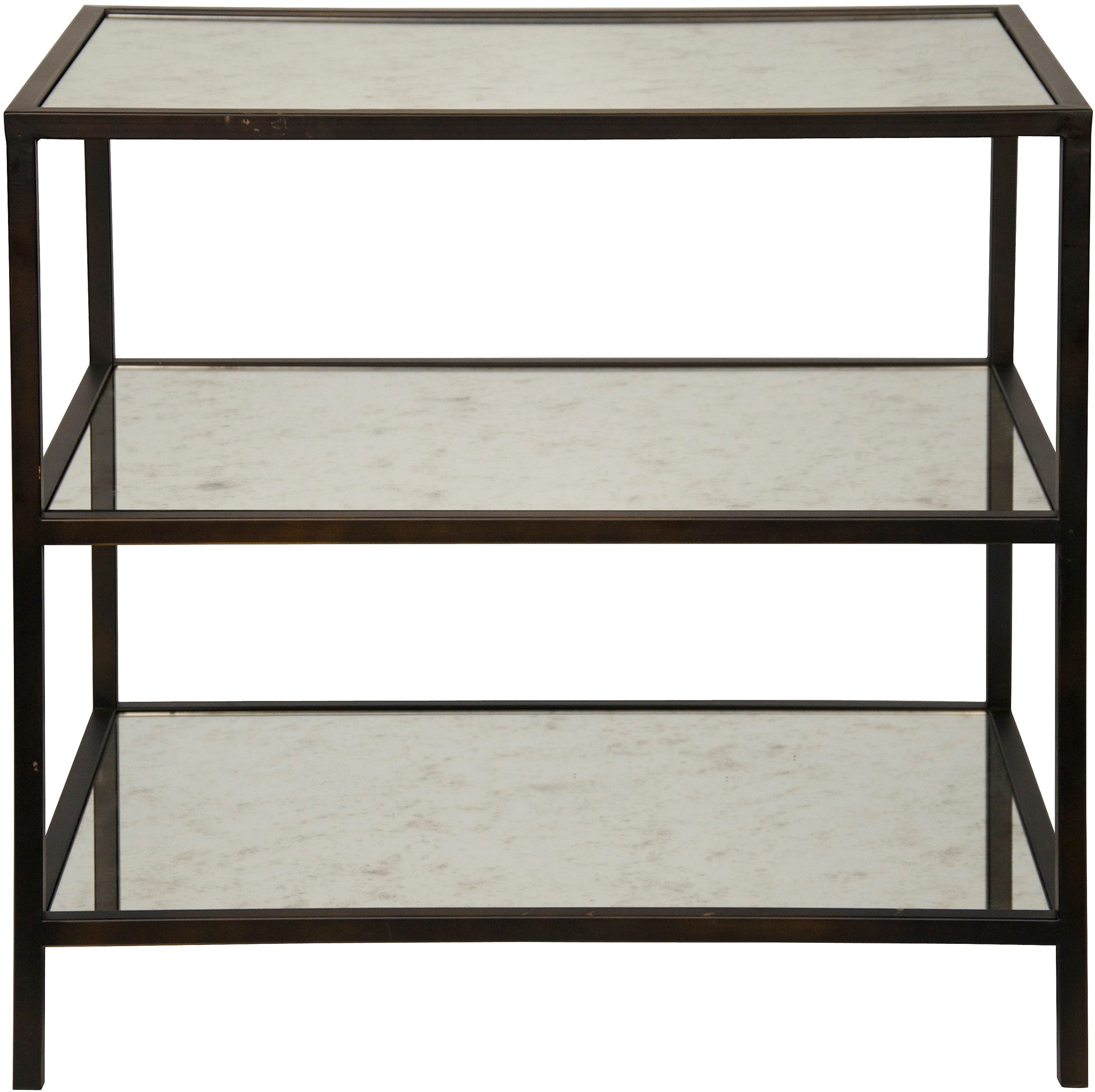 QS 3 Tier Side Table, Metal And Antiqued Mirror