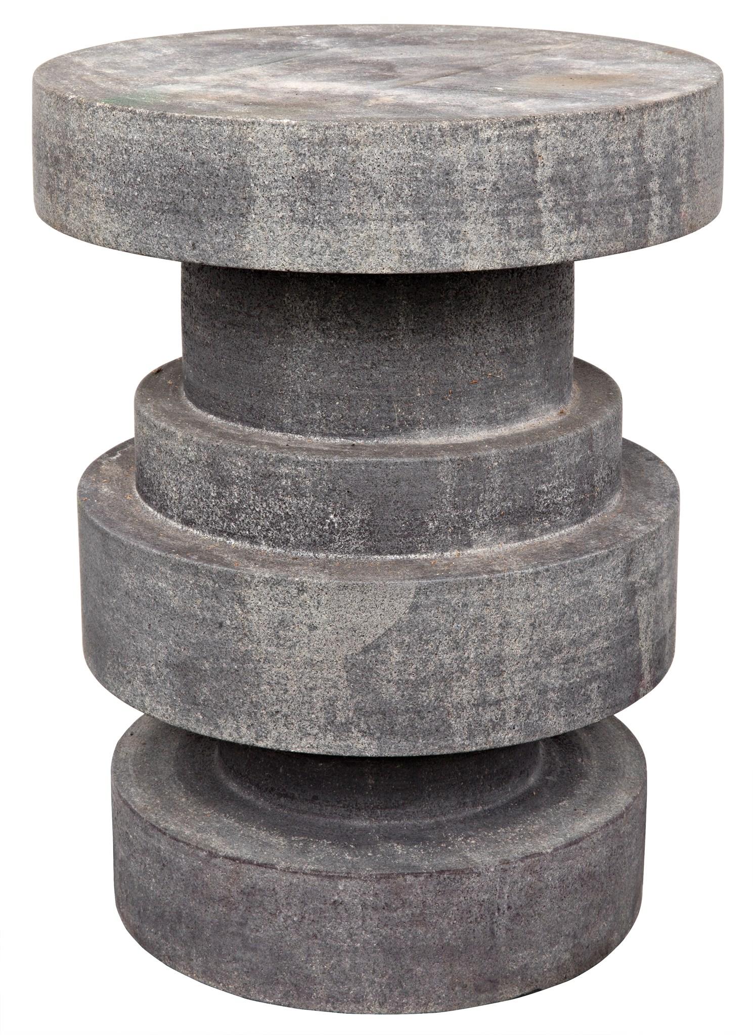 Darius Side Table/Stool, Black Stone