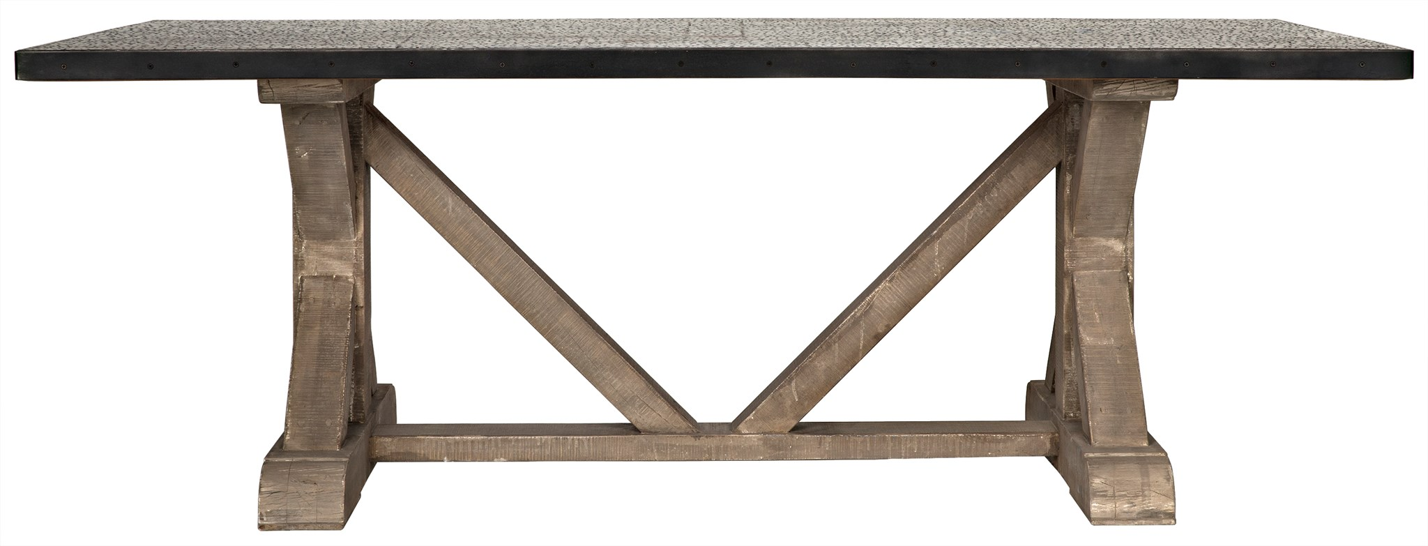 TR X-Base Dining Table with Hammered Zinc Top - Blue Hand Home