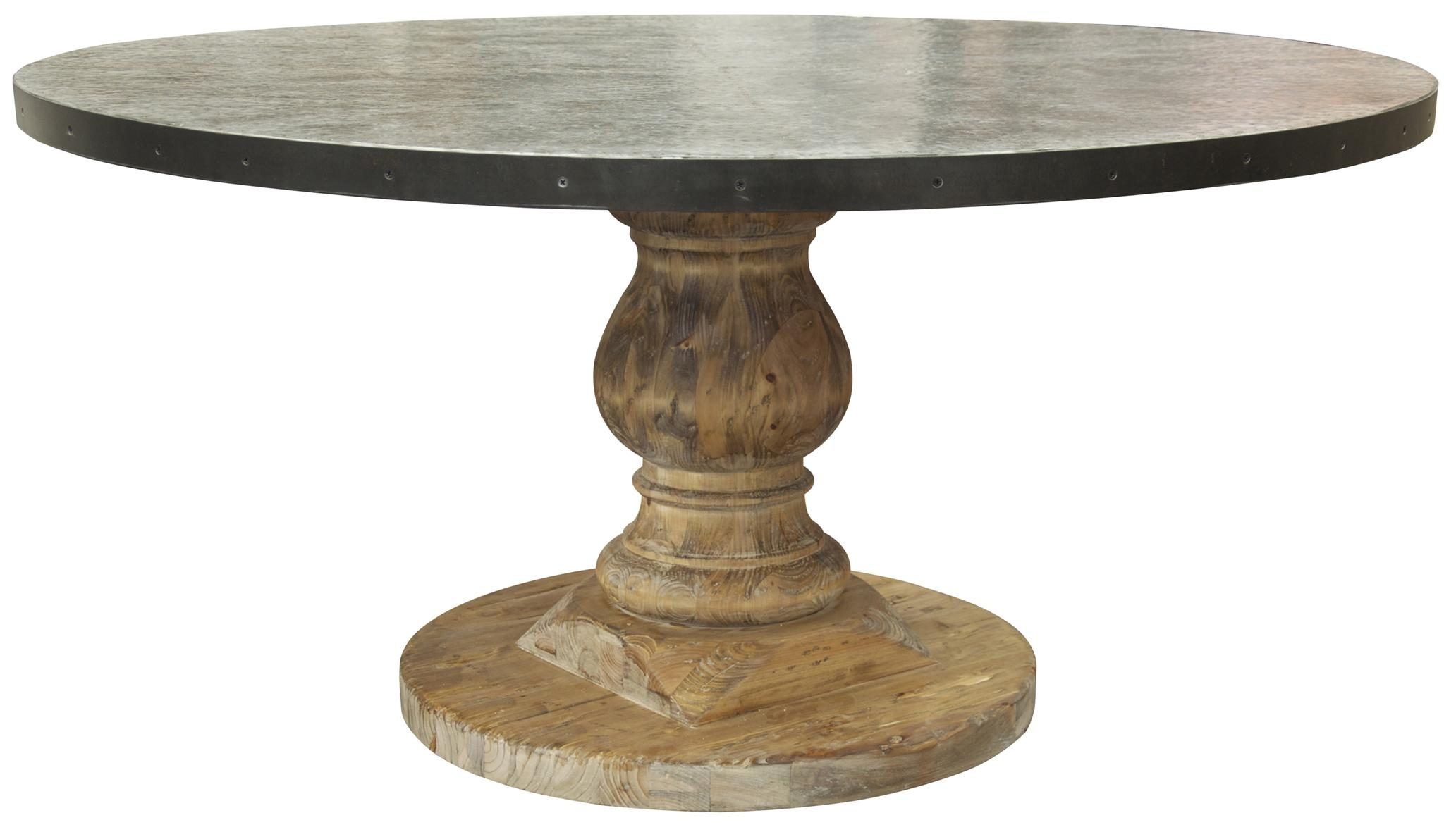 Tr zinc top table with old wood base blue hand home for Round stone top dining table