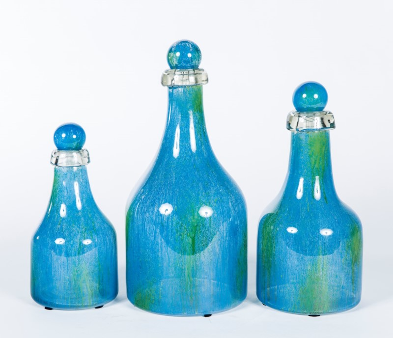 Bottles with Tops Set of 3 in Blue Lagoon Finish